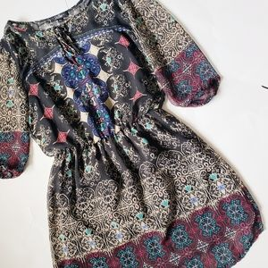 BeBop Boho Tribal Print Blouson Dress - Size XS